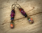 Reserved listing!... Colorful Earrings, Bronzy Droplets Floral Earrings, Copper Wire Wrapped Earrings, Non-allergenic Niobium Earwires