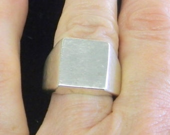 Men's Sterling Silver 925 Square Ring Size 7 # 7082
