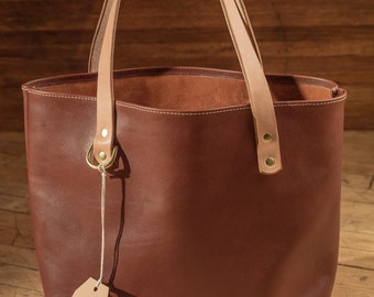Hand- Stitched Leather Tote