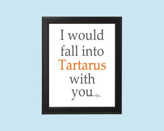 I Would Fall into Tartarus With You Greek Mythology Funny Valentine's Postcard Gift Digital Download