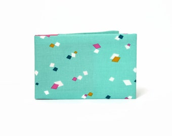 Credit Card Wallet, Oyster Card Holder, Business Card Case, Stocking Filler, Travel Card Wallet - Aqua Geometric Confetti