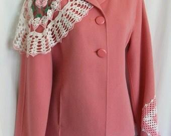 SALE Women's jacket, coat, embellished jacket, fall jacket,wool coat women, lace jacket, pink, romantic boho, romantic clothing, wool jacket