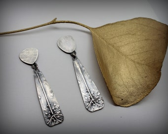 Queen Anne's Lace Sterling Silver Drop Botanical Earrings Posts