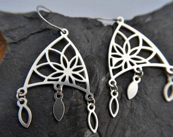 Lotus Flower Chandelier Earrings in stainless steel, silver chandelier earrings, silver yoga earrings, yoga jewelry, silver dangle earrings
