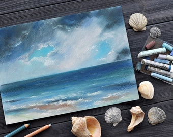 Original painting Soft pastel art Landscape Sea Home decor Beach Artwork Ocean waves Gift for sister Drawing Seashore Ready to frame OOAK