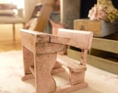 HALF SCALE, Distressed Pink Old school desk in wood, 1/24th scale, Wooden miniature, Dollhouse doll's furniture
