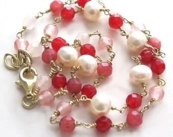 Delicate gemstone & gold bracelet