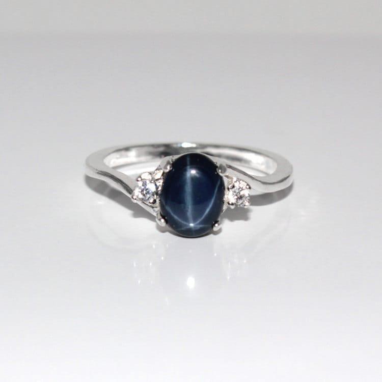 14k white gold blue star sapphire ring genuine blue star. Black Bedroom Furniture Sets. Home Design Ideas