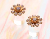 Lavender Swarovski Crystal Wedding Plugs 4g 2g 0g Purple Flower Gauges Size 4 2 0 Upcycled Vintage Crystals Mid Century Prom Piercing