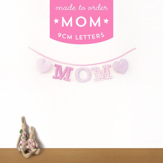 Handmade 'MOM' Fabric Garland