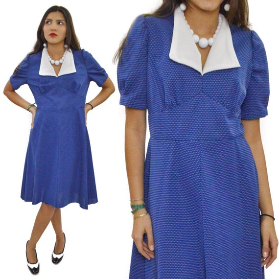 Vintage 70s Secretary Polka Dot Blue White Dress