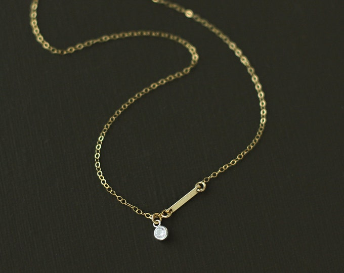 Gold Fill Bar and Crystal Choker Style Necklace