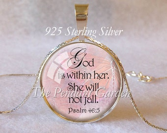 PSALM 46:5 STERLING SILVER Pendant Scripture Pendant God is Within Encouragement Bible Quote Pendant Christian Gift Judaica Courage Faith