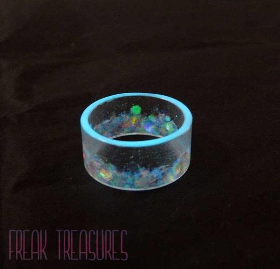 Rainbow mermaid glow in the dark resin flat band kawaii soft for Glow in the dark resin