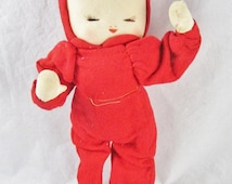 """Red Cloth Stockinette Doll Felt Hand Painted Face Vintage 11"""" Japan Christmas Closed Eyes"""