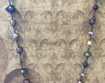 Purple Wire-wrapped Freshwater Pearl Necklace