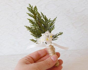 Wedding Boutonniere, groomsmen button hole, winter weddings, woodland rustic boutonniere, winter buttonhole, floral buttonhole, groomsman