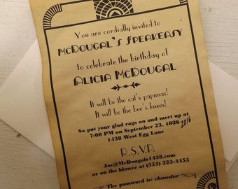 Prohibition or Great Gatsby Party Invitations & Personalized Decor Package, speakeasy, gangster, birthday