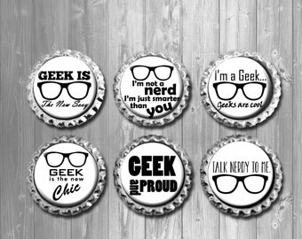 Funny Geek Nerd Word Art Bottle Cap Magnets - Set of 6
