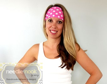 The Pink Polka Dot Yoga Headband - Spandex Headband - Boho Wide Headband