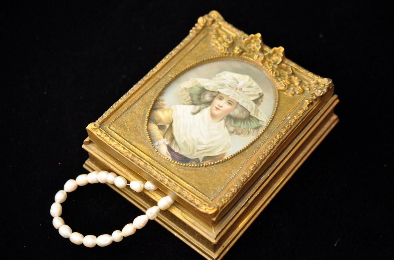 Beautiful Gold Jewelry Box Vintage Gold Victorian Lady