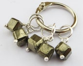 Luxury Sterling Silver and Pyrite Stitchmarkers (small)