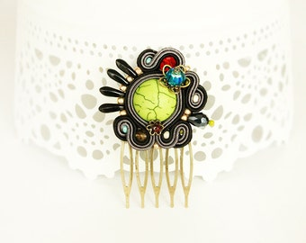 Soutache hair comb,  black soutache headpiece,  colorful hair accessory, embroidered hair comb