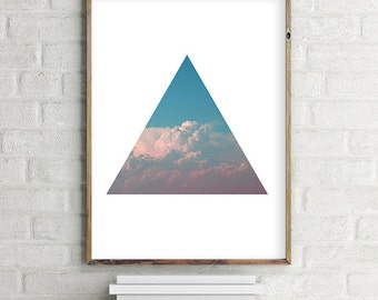 Abstract Triangle-Cloud Printable Wall Art Digital Print - Psychedelic Modern Contemporary Download (various sizes) Gallery Wall Print