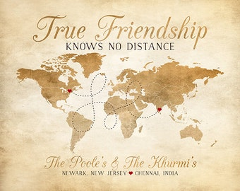 Personalized Gifts, Rustic Brown Map, True Friendship Quote, Friends Moving Away, Neighbors, World Map, India, Couple Friends | WF174