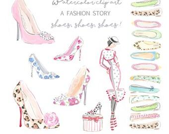 Shoes, Shoes, Shoes! Clip Art Collection  - Watercolor Clip Art  - Fashion Clip Art - Shoe Clip Art  - Scrapbooking  - DIY - Printable