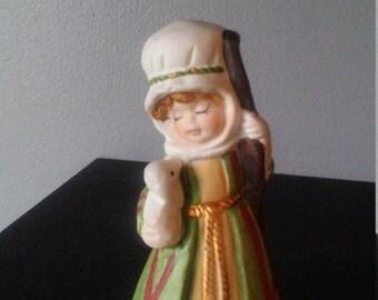 Vintage Jasco 1978 Bisque Shepherd Bell figurine