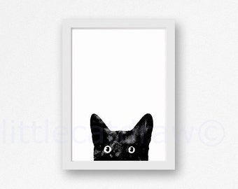 Peeking Black Cat Print Watercolor Painting Art Print Black and White Print Minimalist Wall Art Cat Lover Gifts Unframed Art Print