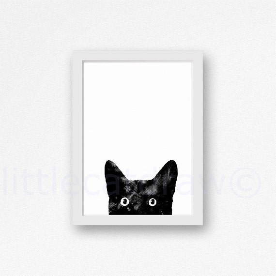 Peeking Black Cat Print Watercolor Painting Art Print Black
