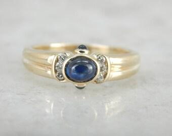 Cabochon Sapphire Ring with Diamond Details 5RWK2Q-R