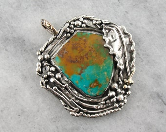 Earthy Turquoise Pendant in Abstract Organic Frame UTLHTR-P