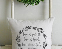 Personalized Love is Patient_Olive Branch Wreath 20 x 20 Pillow Cover_home decor, cushion, throw pillow, gift, present.