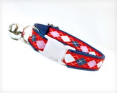 "Cat Collar - ""Stuck on You"" - Red Argyle on Navy Blue"