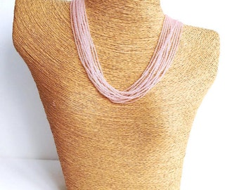 Ballet pink necklace, seed bead necklace, pink seed bead necklace, blush pink necklace, wedding necklace, rose pink, bridesmaid jewelry,gift