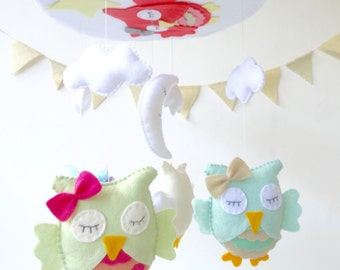 Owl Baby Crib Mobile / Owl Nursery Mobile / Baby Crib Mobile / Baby Mobiles Hanging / Owl Crib Mobile / Owl Baby Mobile / Choose your colors
