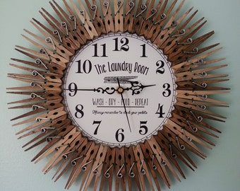 Farmhouse Laundry Room Clock. Wall Decor.