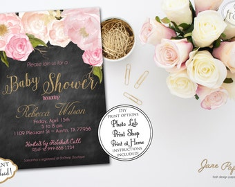 INSTANT DOWNLOAD - Floral Peony Watercolor Chalkboard Baby Shower Invitation - Gold Glitter Invite - Blush Pink Baby Shower - 0133