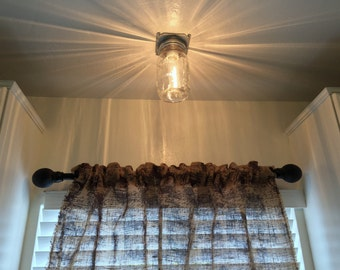 Industrial Mason Jar ceiling light, rustic lighting country style Flush mount clear ball mason kitchen or pantry simplistic light fixture