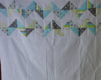 Unfinished Quilt Top Ready to Quilt Lap Throw Baby Quilt Blanket Flannel Chevron White Blue Green Gray