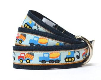 Child Belt - Construction Belt - Boys Belt - Canvas Belt - Trucks Belt - Navy Toddler Belt - Boys Canvas Belt - Child Canvas Belt