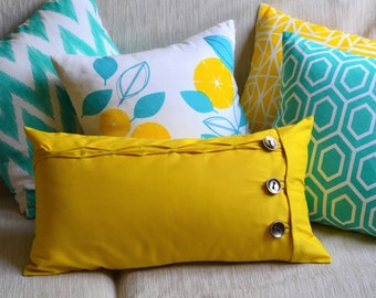 Mustard Yellow Oblong cushion cover / throw pillow case featuring rustic button and loop closure, Hand sewn ruffles