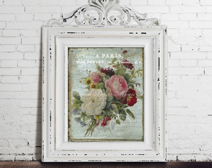 Digital Shabby Chic French Botanical , Antique Flowers, French Graphics, French Pillow Transfer Image