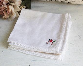 Vintage White Cotton Napkins Set of Eight / 8 Napkins / Floral Embroidery Napkin Set / Needlepoint Cross Stitch