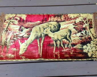 Vintage Tapestry Rug Woodland Deer Scene Made in Belgium