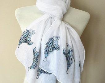 Angel wings Scarf. White scarf with Angel Wings print. Boho scarves.