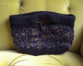 Vintage Handmade Clutch Top Handle Purse Black Handbag Hand Sweater Knit Oblong Angora Wool Mohair Blend Metallic Gold Cozy Soft Bag OOAK